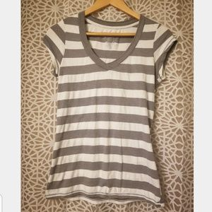 Grey and white striped short sleeve shirt medium